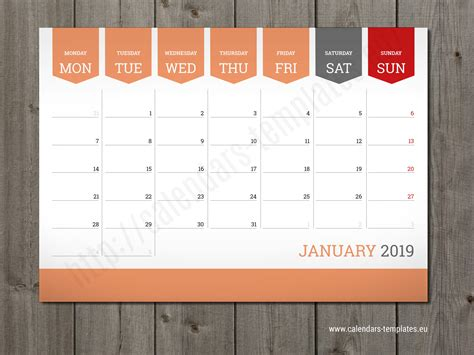 Monthly Calendar 2019 Planner Wall Or Table Pad Planner Template 2019 Planner Template