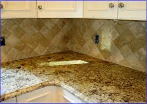 tumbled travertine tile backsplash kitchen