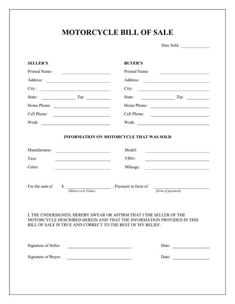 Free Motorcycle Bill Of Sale Form Download Pdf Word Motorcycle Bill Of Sale Template