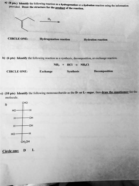 hydration questions and answers solved identify the following reaction as a hydrogenation