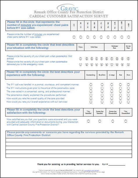 customer feedback forms exles cardiac customer satisfaction survey