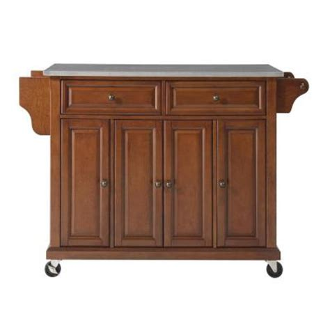 kitchen islands at home depot crosley 52 in stainless steel top kitchen island cart in cherry kf30002ech the home depot
