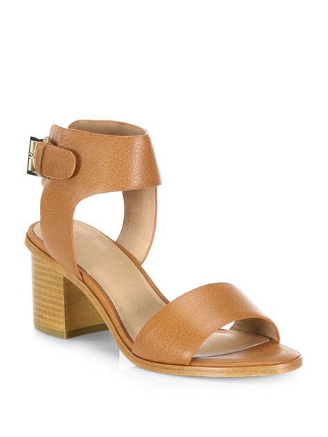 heel sandal joie bea leather mid heel sandals in brown lyst