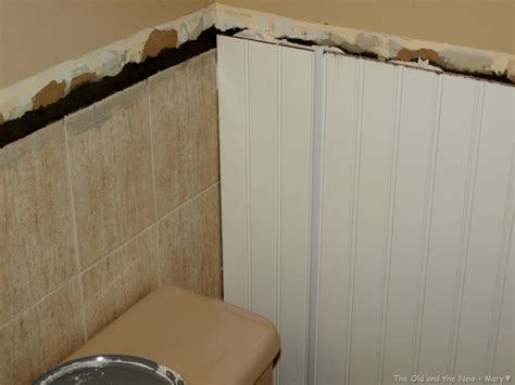how to put tile on wall in bathroom good bye old tile beadboard over tile bathrooms