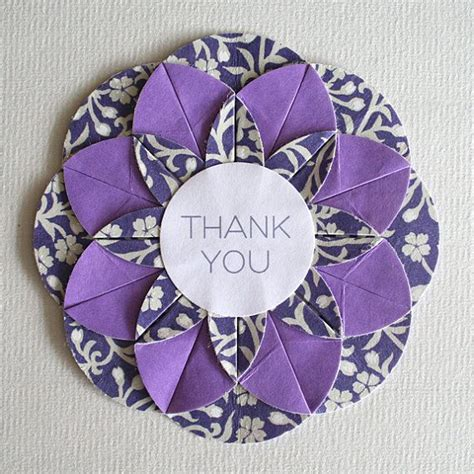 Origami Thank You - handcrafted thank you card unit origami folded circle