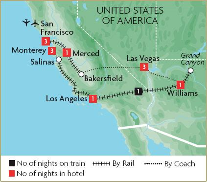 west coast of usa map west coast usa escorted tours great rail journeys