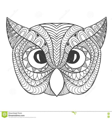 Owl Head Coloring Page | eagle owl head adult antistress coloring page stock