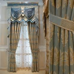Exclusive Curtain Fabrics Designs Blue White Gold Drapes House Hotel Curtains For Living Room Gold Thickening Luxury Blue