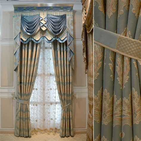luxury drapery blue white gold drapes house hotel curtains for living
