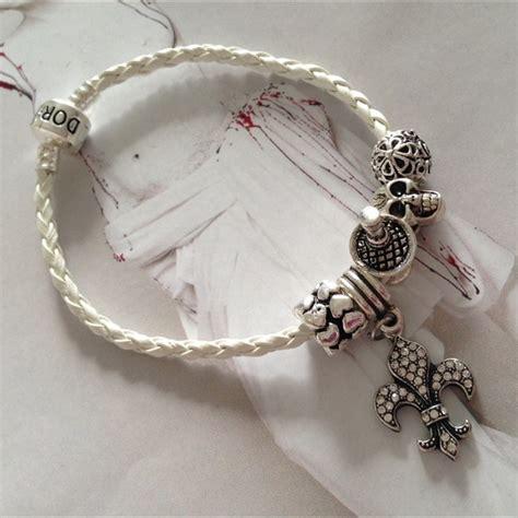 pandora like white leather silver charm pandora like