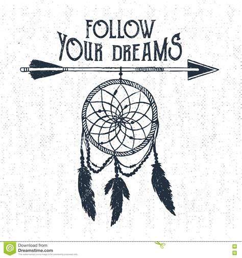 hand drawn label with dream catcher vector illustration