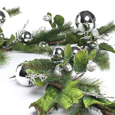 christmas artificial evergreen and silver ornaments