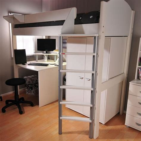 stompa casa  white high sleeper bed  desk wardrobe