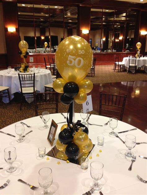 Black And Gold Balloon Centerpieces For A 50th Birthday Or 50th Birthday Centerpiece Ideas