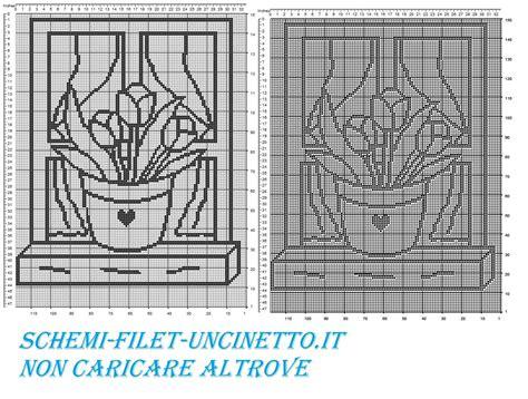 schemi tende filet gratis tenda vaso di tulipani su finestra schema filet gratis