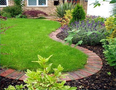 brick garden bed edging garden edging for a knockout front lawn in 11 practical ways