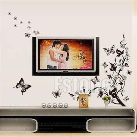 home decor wall art stickers hot removable flower butterfly wall art decal vinyl