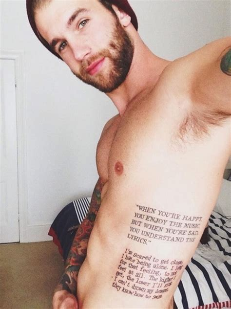 quotes tattoo on side tattoos for men