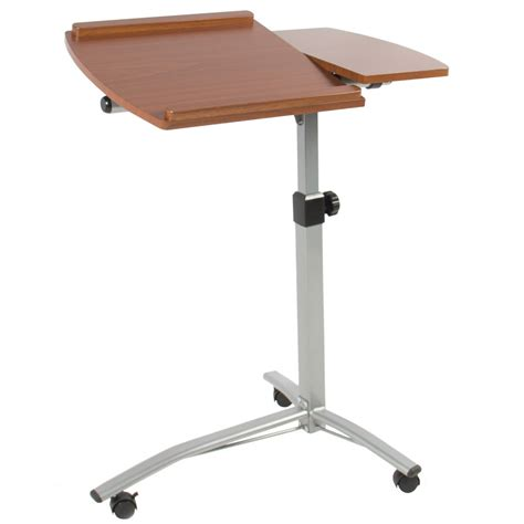 angle height adjustable rolling laptop desk cart over