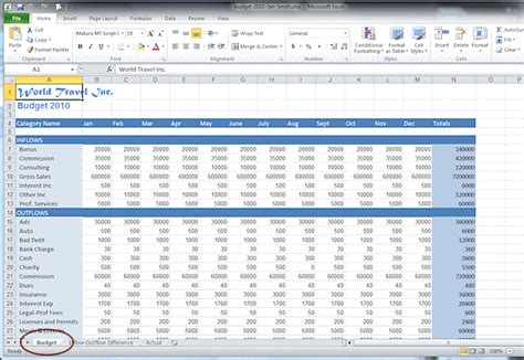 how to make a budget spreadsheet in excel 2010