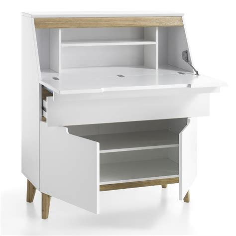 laptop desks with storage eliza laptop desk in matt white and knotty oak with storage