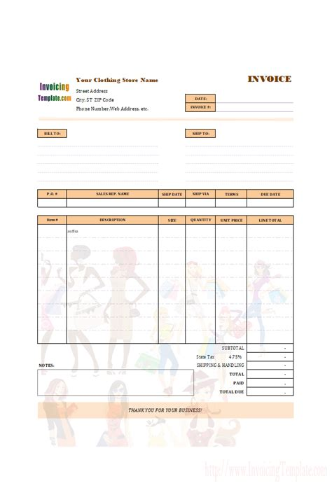 tailor receipt template clothing shop receipt