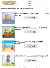 fill in the blanks using conjunctions but and worksheet