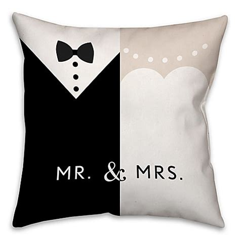black throw pillows bed bath and beyond quot mr and mrs quot dress throw pillow in black white bed