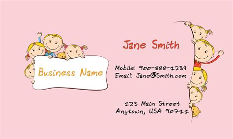 pink child care business card design 2201031
