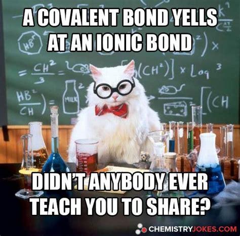 Cat Birthday Meme - a covalent bond yells at an ionic bond chemistry cat