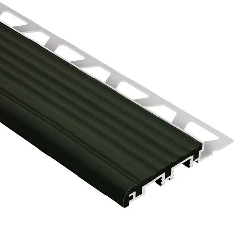 schluter trep b aluminum with black insert 1 2 in x 8 ft