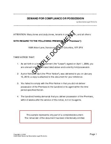 Demand Letter Ejectment Sle Demand For Compliance Or Possession Canada Templates Agreements Contracts And Forms