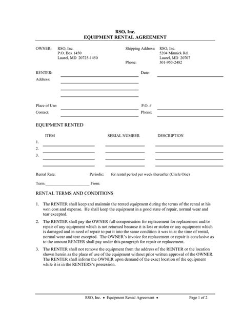 tool rental agreement template equipment rental agreement form sle forms