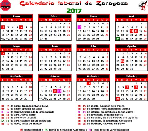 Calendrier R Madrid 2016 Gatos Sindicales Zaragoza Calendario Laboral 2017 Zaragoza
