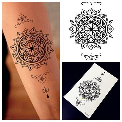 sunflower henna tattoo aliexpress buy 1pc indian sunflower totem black