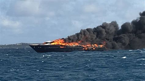 yacht fire motoryacht limitless destroyed by fire in the caribbean