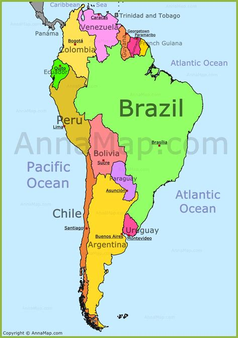 south america map map of south america maps and south america map annamap com