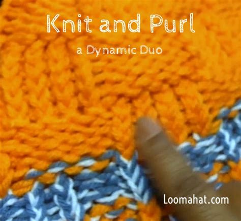 knit and purl on a loom knit and purl stitch text picture and tutorial