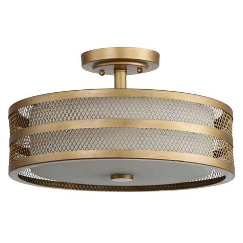 Gold Flush Mount Ceiling Light Safavieh Great Veil 3 Light Antique Gold Semi Flush Mount Light Lit4230a The Home Depot
