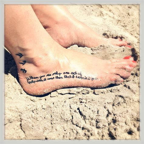 footprints in the sand tattoo foot in my grammy s handwriting religious in