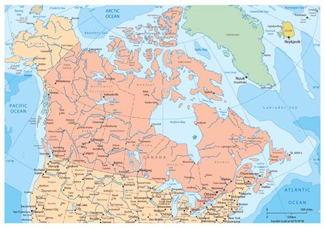 map of canada with major cities large political and administrative map of canada with
