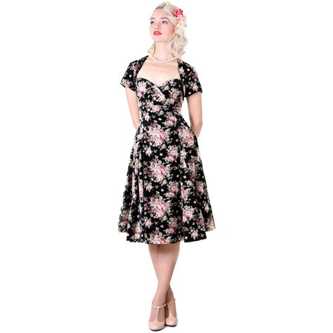 swing style dress collectif regina doll pink floral velvet vintage 1950s