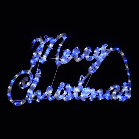 multi action blue white merry christmas rope light sign