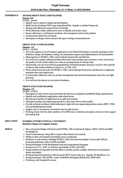 Front End UI Developer Resume Samples | Velvet Jobs