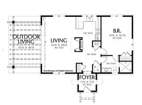 one bedroom one bath house plans simple one bedroom house plans home plans homepw02510