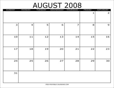 August 2008 Calendar 2008 Free Printable Calendars Free Printable Calendars