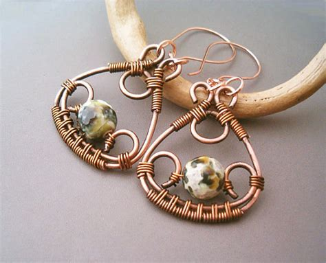 Handmade Copper Earrings - wire wrapped earrings copper and green crackle agate