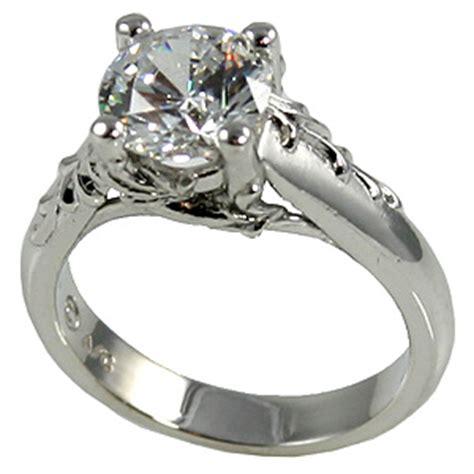 platinum antique floral cz cubic zirconia engagement ring