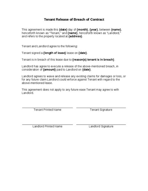 Lease Agreement Breach Of Contract Letter Tenant Breach Release Hashdoc