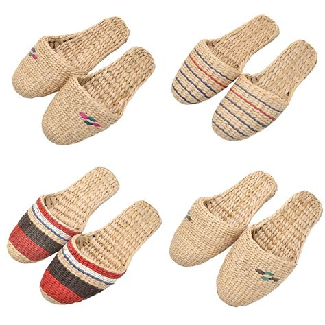 straw woven slippers sandal shoes flip flop home